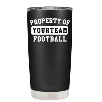 TREK Property of Football Personalized on Black 20 oz Tumbler Cup