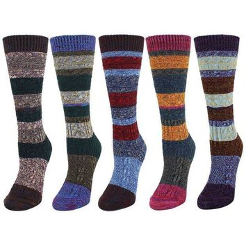 ESBON8C Zmart 5 Pack Women's Thick Knit Wool Cotton Vintage Colorful Casual Fall Winter Crew Socks