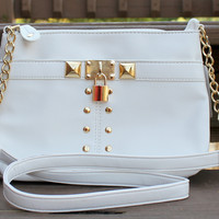 White Studded Crossbody