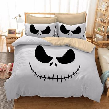 Home Textile 3D Printing Halloween Scarecrow Style Nightmare Before Christmas 3pc Bedding Set Duvet Cover with Pillowcase Gift