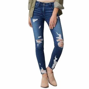 Women's Dark Denim Distressed  Denim Skinny Jeans