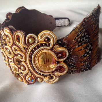 Soutache Headband, Statement Headband, Soutache and Feathers, Party Headband, Accessory
