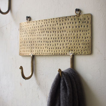 Two Hook Coat Rack Hammered Antique Brass Finish