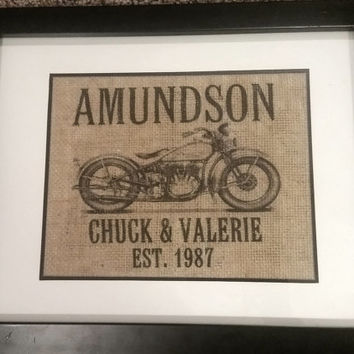Personalized Vintage Motorcycle Print, Housewarming Gift, Anniversary Gift, Personalized Family Sign, Burlap Print, Established Sign