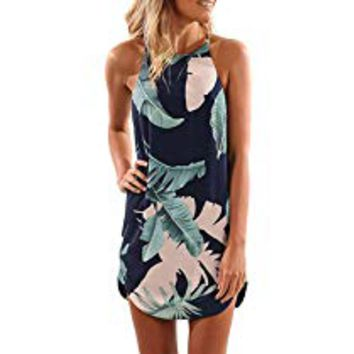 Womens Summer Halter Neck Floral Print Sleeveless Casual Mini Dress