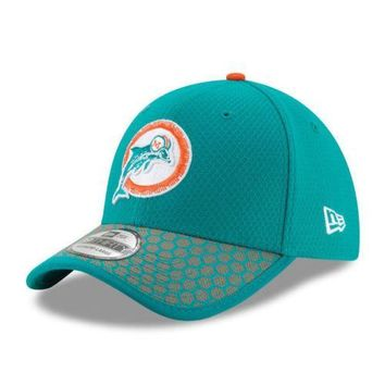 Miami Dolphins New Era 39THIRTY NFL 2017 Sideline On Field Cap Flex Hat Stretch
