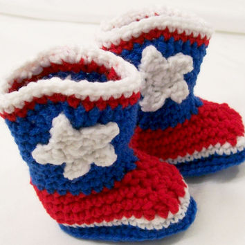 Baby Crochet Cowboy Boots, REd White Blue Houston Colors Western Boots, Baby  gift, Baby Shower Gift, Handmade, Made in the USA, #222