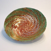 Vintage Art Glass Bowl / Green and Copper Metallic Swirl / Mid Century Atomic Celestial Home Decor