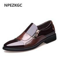 NPEZKGC New Spring Fashion Oxford Business Men Shoes Genuine Leather High Quality Soft Casual Breathable Men's Flats Zip Shoes