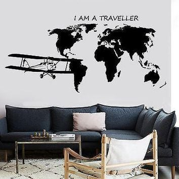 Wall Decal Map Of The World Airplane Quote I Am A Traveller Vinyl Sticker Unique Gift z2840