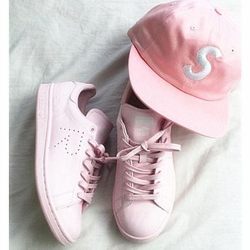 Women Casual Sport Print Adidas Stan Smith Shoes Pink