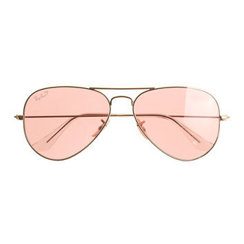 Ray-Ban Original Aviator Sunglasses with Polarized Pink Lenses