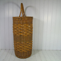 Vintage Very Tall Round Natural TwoTone Wicker Decorator Basket - Rustic Hand Woven Double Handle Strong Carry All - Primitive Long Tote Bag