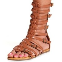 Strappy Flat Gladiator Sandal by Charlotte Russe - Cognac