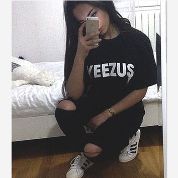 Fashion sexy hot YEEZUS short sleeve T-shirt Black