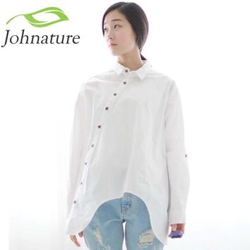 Johnature 2017 Autumn New Women Shirt Cotton Linen Button White Blue Floral Turn-down Collar Irregular  Loose Blouse