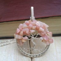 Pink Opal Tree Of Life Pendant - Wire Wrapped Pendant -  Wire Wrapped Jewellery - Tree Necklace - Opal Pendant