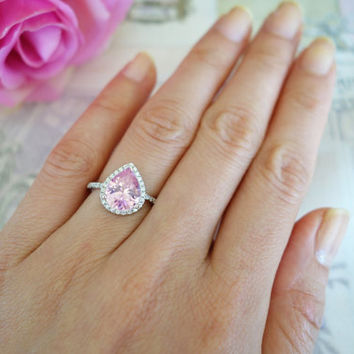 2.5 ctw, Pear Halo Ring, Gatsby Style Ring, Engagement Ring, Man Made Pink Diamond Simulants, Promise Ring, Bridal Ring, Sterling Silver
