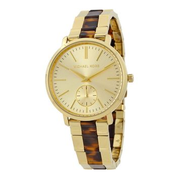 Michael Kors Women's Gold Tone Tortoise Acetate Bracelet Watch MK3511