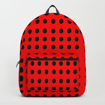 red and black polka dot- polka,polka dot,dot,pattern,circle,disc, point,abstract, minimalism Backpacks by oldking