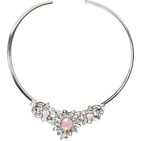 River Island Womens Silver tone gemstone flower choker necklace