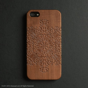 Real wood engraved mandala pattern iPhone case S012