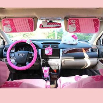 Cartoon Hello Kitty Car Accessories Interior Decoration Car Gear Shifter Cover Handbrake Seat Belt Cover Car Tissue Box CD Bag