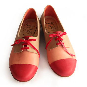 Leather oxford in red, soft pink and light brown * leather shoes
