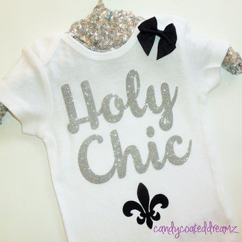 HOLY CHIC custom funny trendy baby Onesuit t-shirt bodysuit glitter shirts girls boutique clothes