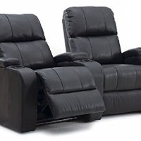 Octane Edge XL800 Row of 2 Seats, Curved Row in Black Leather with Power Recline