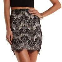 Black Bodycon Lace Pencil Skirt by Charlotte Russe