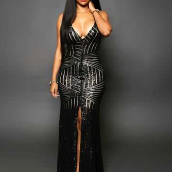 Black Plunging Sequined Front Slit Evening Dress