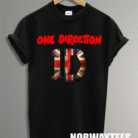 One Direction Shirt The Flag Symbol Printed on Black and White t-Shirt For Men or Women Size X 07