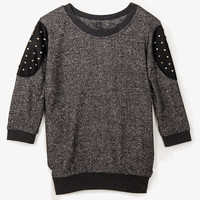 Studded Shoulder Patch Pullover
