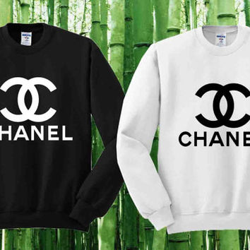 Chanel Sweater Black and White Sweatshirt Crewneck Men or Women Unisex Size
