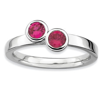 925 Sterling Silver Double Round Cut Bezel Synthetic Created Ruby Ring: Size: 8
