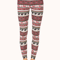 FOREVER 21 Elephant Parade Leggings Ivory/Red