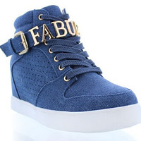 FINAL SALE - Fabulous Sneaker Wedges - Denim (Letters Can Be Removed)