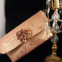 Golden Mauve Clutch Purse Embossed Bag with Flower