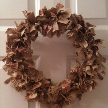 Fall burlap cloth wreath