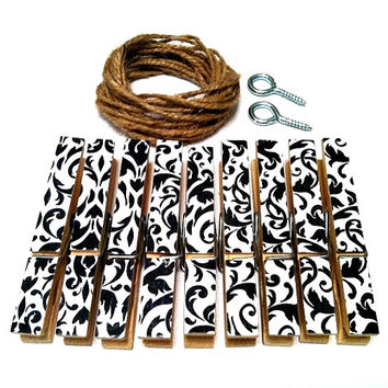 Black and White Damask Photo Clothesline Kit Wall Hanging Decor Geometric Decorative Clothespins Rustic Boho Wedding Dorm Nursery Display