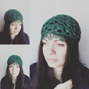 Green chemo hat/ Tassel Lace Crochet hat - summer beanie hat-women CROCHET CAP/ hats, skull caps/chemo skullcap/fashionable hats by ZAPrix
