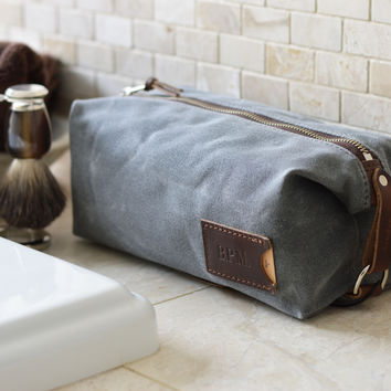 NO. 345 Personalized Dopp Kit with Leather Tag, Slate Gray Waxed Canvas