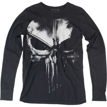 Punisher Men's  Distressed Punisher Thermal Long Sleeve Black