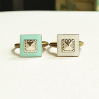 Square Ring, Geometric Ring, Pyramid Ring, White Square Ring, Turquoise Green Square Ring, White Geometric Ring, Green Geometric Ring