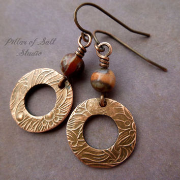 Blossom Agate & Copper earrings, floral textured copper jewelry, handmade hammered earrings, wire wrapped earrings, earthy jewelry