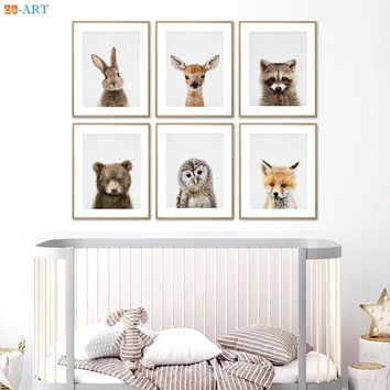 Rabbit Dog Deer Bear Fox Owl Prints Nursery Picture Woodland  Animal  Wall Art Peekaboo Cnavas Painting Kids Room Decor Unframed