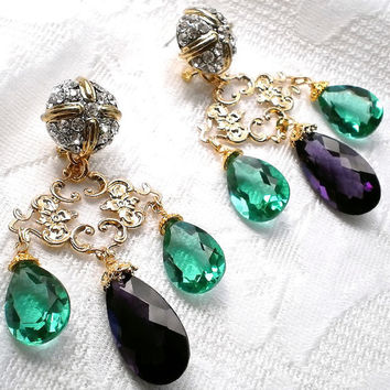 Earrings Chandelier Amethyst and emerald green topaz dangle teardrop gold swarovski crystals faceted stone