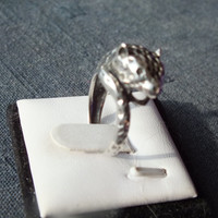Beautiful Cheetah Figure Silver Ring, Size 6 1/4, Silver 925, Very Pretty Vintage Ring