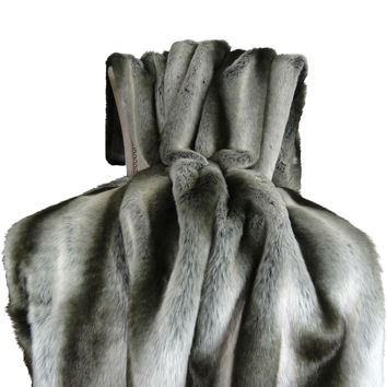 Plutus Gray Chinchilla Faux Fur Handmade Throw / Blanket